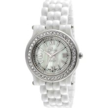 Peugeot Ps4905Ws Women'S Ps4905Ws Swiss Ceramic White Silver-Tone Crystal Bezel Watch