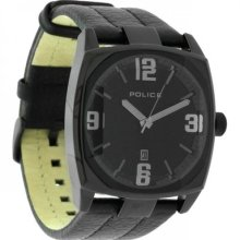 Police Edge Watch, Black Face And Leather Strap, Cw91