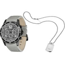 Police Men's Watch And Dog Tags Gift Set, Quartz Watch With Grey Dial Analogue Display And Grey Leather Strap Dl34.69Pl