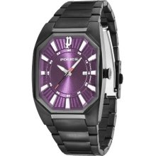 Police Octane Men's Quartz Watch With Purple Dial Analogue Display And Black Stainless Steel Bracelet 12895Jgsb/15M
