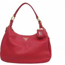 Prada BR4580 Vitello Daino Hobo Bag Red