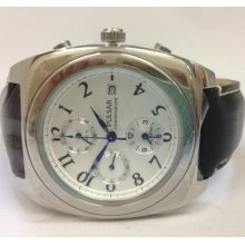 Pulsar Pf3 161 Genuine Leather Strap Silver Tone Dial Chronograph Men's Watch