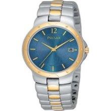 Pulsar Two Tone Dress Watch Blue Dial