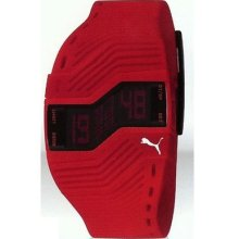 Puma Mens Turn Ii Digital Display Multifunction Red Rubber Watch Pu910761003