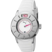 Puma Womens Sports Stainless Steel Case White Dial Plastic Bracelet Watch