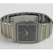 Rado Jubile 18k Solid Gold Full Bar & Steel Diamond Dial Mens Watch 152.0366.3