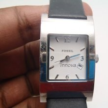 Rare Fossil Innova Pr-5169 Unisex Watch With Date Dial- Battery