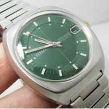 Rare Vintage Citizen Para Water Green Dial Dress Watch Wind Up Gents.