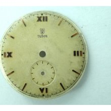 Rare Vintage Tudor 29mm Dial. Aged White With Pink Gold Roman Numbers.