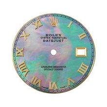 Rolex Datejust Midsize Aftermarket Black MOP Dial, Yellow Gold Roman