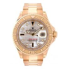 Rolex Mens Yachtmaster 18kt Yellow Gold White MOP Diamonds & Sapphires Dial