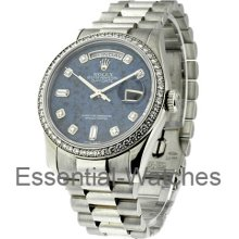 Rolex Used Men's Platinum President with Diamond Bezel 18346
