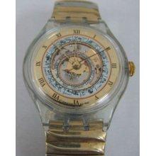 Sak113 Swatch - 94 Automatic Serti Misterieux Gold Art