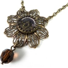 SALE - Victorian Revival Necklace - Antique Button - Amber Mocha Gold Drop Crystal - Edwardian Elegance