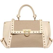 salvatore ferragamo small sofia studded leather & canvas bag