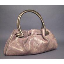 Salvatore Ferragamo Smoky Metallic Suede Handbag