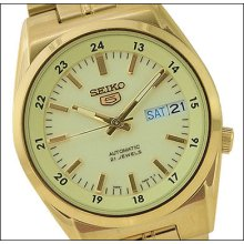 Seiko 5 Automatic Gold-ton Lumbrite Men's Watch Snk578