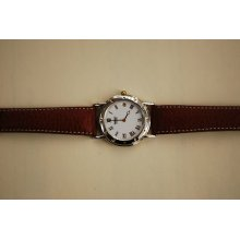 Seiko Quartz Watch Chrome Case Leather Strap Brown Unisex