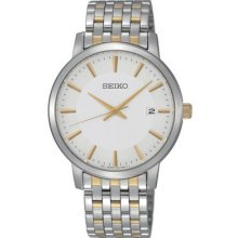 Seiko Sgef91 Men's Watch Two Tone Quartz White Dial Date Display