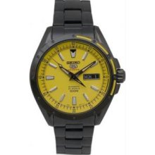Seiko SRP159 Mens Black Stainless Steel Automatic Yellow Dial