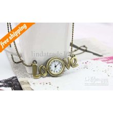 Selling Vintage Pocket Watch Fashion Love Watch Necklace Jewelry 10p