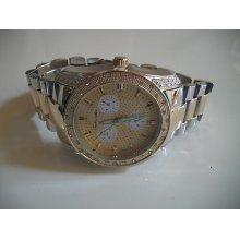 Silver & Gold Finish 3d Technostar Large Bracelet Oversized Heavy Watch