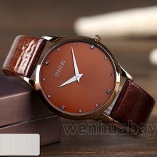 Simple Sinobi Brown Leather Band Brown Face Men Boy Quartz Wrist Watch S9141-003
