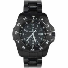 Smith And Wesson Blue Tubed Tritium Watch Black Stainless Steel Band--sww-32-bss