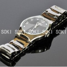Soki Black Mens Analog Quartz Wrist Diamond Type Glass Dial Wrist Watch S90