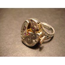 Steampunk Watch Movement Ring with Exposed Gears (768)