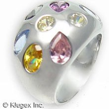 Sterling Silver Ring W/ Multi Color Cubic Zirconia Size