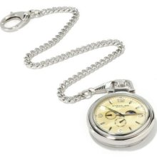 Stuhrling Original Men's Monarch Moon Phase Stainless Steel Pocket Watch