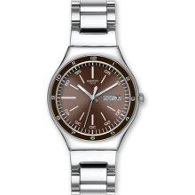 Swatch Unisex Stainless Steel Bracelet Brown Dial Watch Ygs753g Factory Warranty