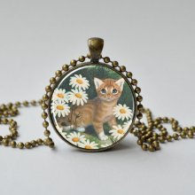 The Tiny Tawny Kitten. Golden Books. Vintage Pendant. Cat Necklace. Classic Childrens Book. Vintage Cat.Glass Dome Pendant 032