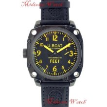 U-boat Mens 50mm Black & Yellow Dial Stainless Steel Pvd Case Manual Wind Watch