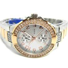 U13586l2 Guess Women Silver Rosegold Date Swarovski Crystals Watch