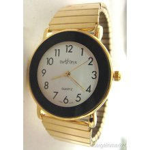 Unisex Mens Stainless Steel Expansion Stretch Band Gold Tone Watch 9268