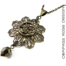 Victorian Rose Necklace - Antique Mirror Button - Silver Gold Drop Crystal - Edwardian Elegance