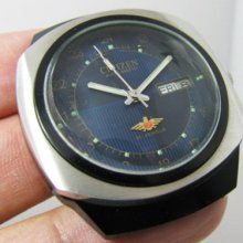 Vintage Citizen Auto Blackie Case Facet Gents 24 Hours.