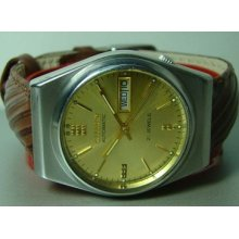Vintage Citizen Automatic Day Date Wrist Watch Golden Dial Old Used F948 Antique