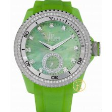 Vip Time Magnum Collection Green Rubber Strap Crystal Ladies Vp8021gr Watch