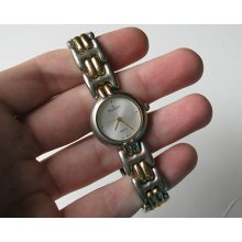 Vtg Old 2 Tone Silver Gold Peugeot Quartz Sm Face Ladies Womens Metal Watch W55