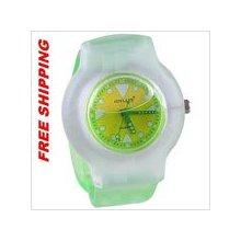 Water-filled quartz wrist watch for girl - green