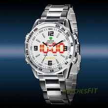 Weide Double Movement Analog Led Digital Dual Time Stainless Steel Sports Watch