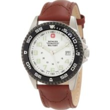 Wenger Swiss Military Men Sport Brown Leather Analog Watch Swiss Knife Gift