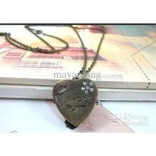 Wholesale 3pcs/lot Long Necklace Chain Quartz Pocket Watch Heart Lov