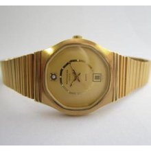 Wittnauer Yellow Plated Dial With Real Diamond At '12' Ladies N.o.s. Watch