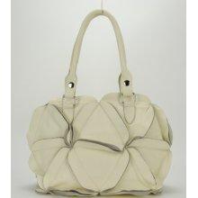 Woemn Genuine White Leather Tote Bag Shoulder Handbag Satchel Flower Patch Purse