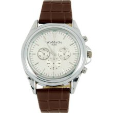 Womage 9285 Leather Band Men's Electronic Quartz Wrist Watch Brown