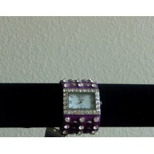 Women Black Purple Silver Rhinestone Rockstar Leather Strap Watch Wristwatch